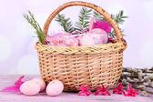 Beautiful Easter composition on wooden table — Stock Photo