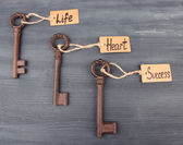 Keys to happiness, Conceptual photo. On color wooden background — Stock Photo