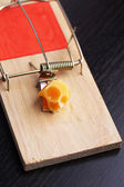 Mousetrap with cheese on wooden background — Foto de Stock