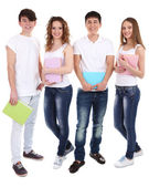 Group of happy beautiful young people isolated on white — Stock Photo