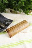 Composizione con aghi per agopuntura, da vicino. — Foto Stock
