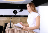 Businesswoman is making speech at conference room — Stock Photo