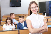 Businesswoman delivering presentation at conference — Stock Photo