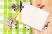 Blank recipe book on bright background — Stok fotoğraf