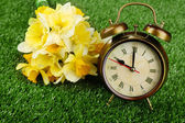 Alarm clock on green grass, close up — Stock Photo