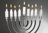 Menorá de chanucá com velas — Foto Stock