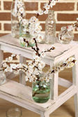 Beautiful apricot blossom in transparent jars on brick wall background — Stock Photo