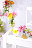 Working place of florist. On light background. Conceptual photo — Photo