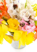 Beautiful flowers in metal bucket close up — Stock Photo