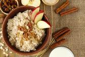 美味燕麦与坚果和苹果在桌子上的关闭 — 图库照片