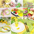 Easter collage with easter eggs and table setting — Stock Photo #43886753