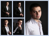 Snapshot of model. Handsome man on black background — Stock Photo