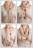 Collage of 4 ways to tie scarf — Stock Photo