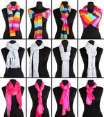 Collage of 12 ways to tie scarves — Stock Photo