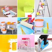 Collage von materialien für die reparatur — Stockfoto