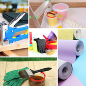 Collage of materials for repair — Stockfoto