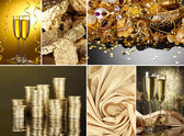 Collage of photos in gold colors — Stock Photo