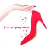 Woman hand holding beautiful red female shoe, isolated on white — Stock Photo