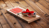 Mousetrap with dollar on wooden background — Stock Photo