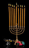 Hanukkah menorah with candles isolated on black — Stock Photo