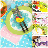 Easter collage with easter eggs and table setting — Stock Photo