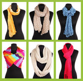 Collage of 6 ways to tie scarves — Stock Photo