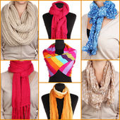 Collage of 7 ways to tie scarves — Stock Photo