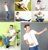 Collage of handsome young man with headphones — Stock Photo