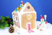 Gingerbread house on blue background — Stock Photo