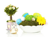 Easter composition isolated on white — Stock Photo