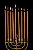 Hanukkah menorah with candles isolated on black — Stock Photo