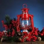 Red kerosene lamp on dark color background — Stock Photo #44184423