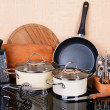 Kitchen tools on table in kitchen — Stock Photo #44190477
