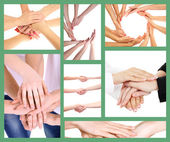 Collage of young people's hands — Stock Photo