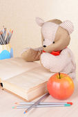 Bear toy with book on light background — Stock Photo