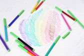 Kids drawing and colored pencils on wooden table — Foto Stock