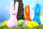 Funny handmade Easter rabbits on nature background — Stock Photo