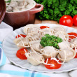 Meat dumplings - russian boiled pelmeni close up — Stock Photo #44407283