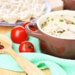 Meat dumplings - russian boiled pelmeni close up — Stock Photo #44407285