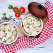 Meat dumplings - russian boiled pelmeni close up — Stock Photo