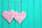 Decorative heart on wooden background — Stock fotografie