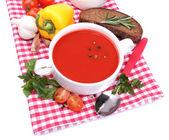 Leckere Tomatensuppe und Gemüse, isoliert auf weiss — Stockfoto