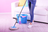 Cleaning floor in room close-up — Stock Photo