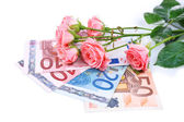 Beautiful roses and money, isolated on white — Zdjęcie stockowe