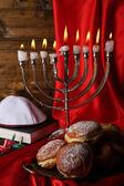 Composición festivo para hanukkah en primer plano de la tela — Foto de Stock