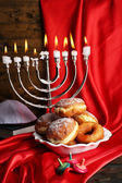 Festive composition for Hanukkah on cloth close-up — Stock Photo