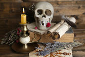 Conceptual photo of love magic. Composition with skull, voodoo doll, dried herbs and candle on  dark wooden background — Stock Photo