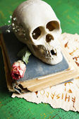 Skull on old book  on color wooden background — Stock Photo