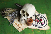 Composition with skull, old magic symbols, candle and dry herbs  on color wooden background — Stock Photo
