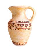 Greek ceramic amphora, isolated on white — Stock Photo